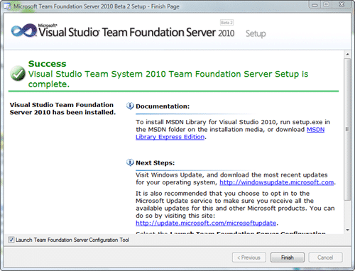 Microsoft Team Foundation Server 2010 Install - Finish Page