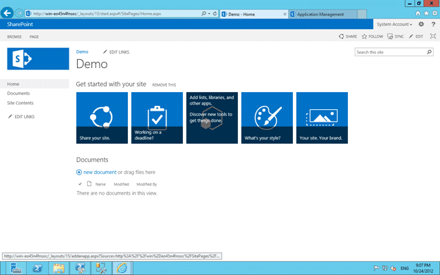 New SharePoint 2013 Team Site