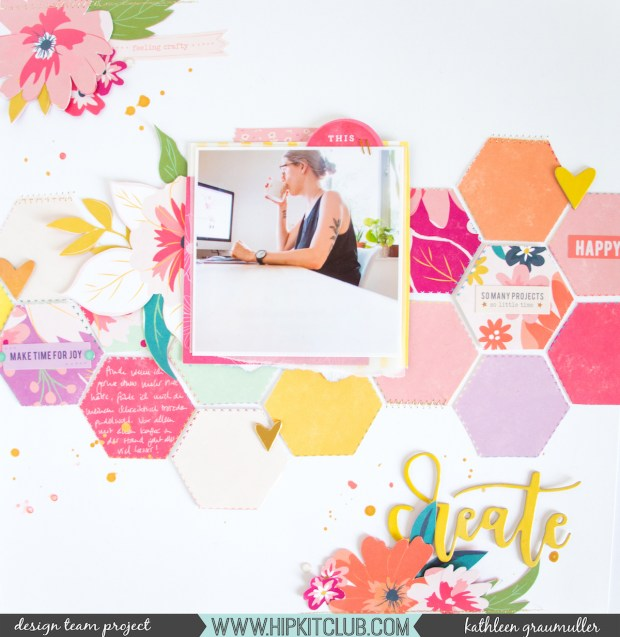 Create by ScatteredConfetti. // #scrapbooking #hipkitclub #pinkpaislee