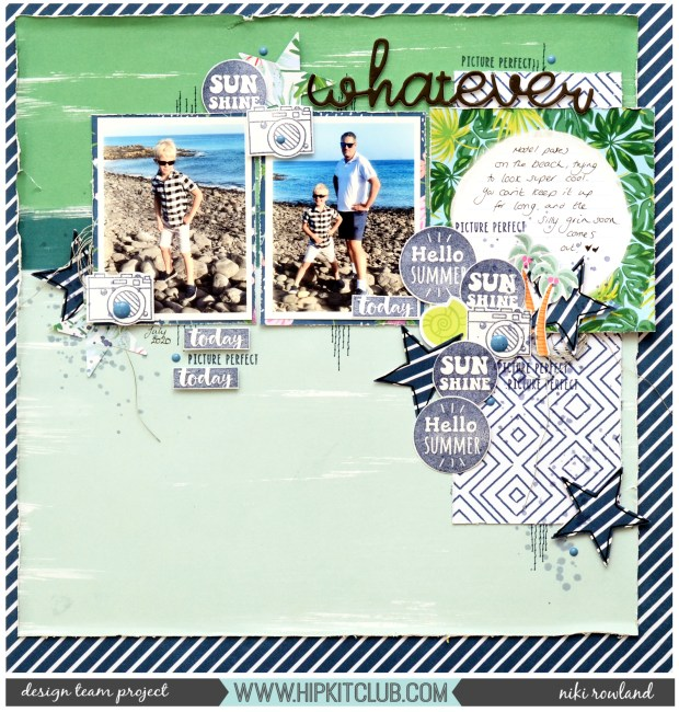 Whatever Niki Rowland Hip Kit Club male scrapbook layout Pink Paislee and many more main kit only machine stitching Dear Lizzy American Crafts stamping