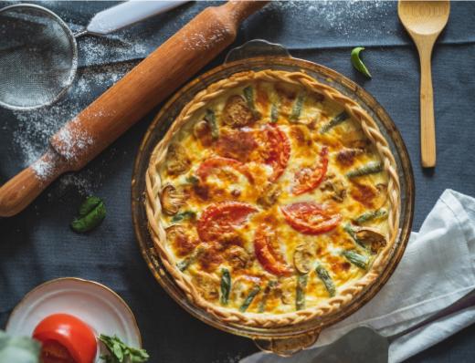 Mushroom, Rosemary, and Tomato Quiche