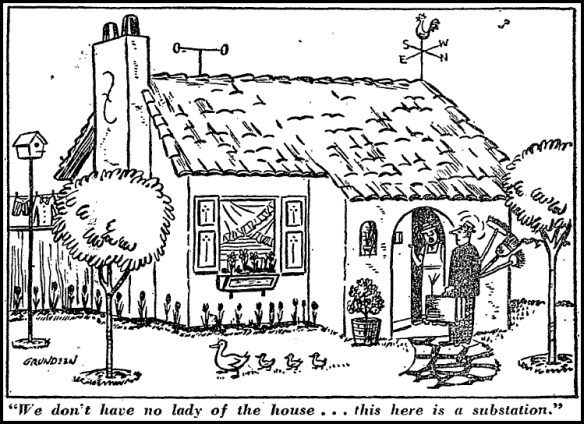 "Washington Post cartoon. ""These Homes are Really Electrifying,"" April 4, 1954."