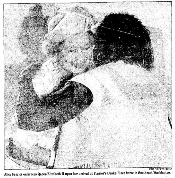 Alice Frazier hugs Queen Elizabeth II. Credit: The Washington Post, May 15, 1991.