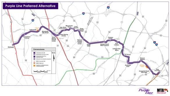 Purple Line route. MTA map.