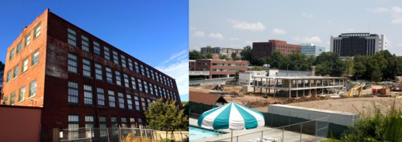 Adaptive use (left): rehabilitated shoe factory (Atlanta, Old 4th Ward), now a green transitional housing SRO. Demolition (right): Decatur's Beacon and Trinity schools site.