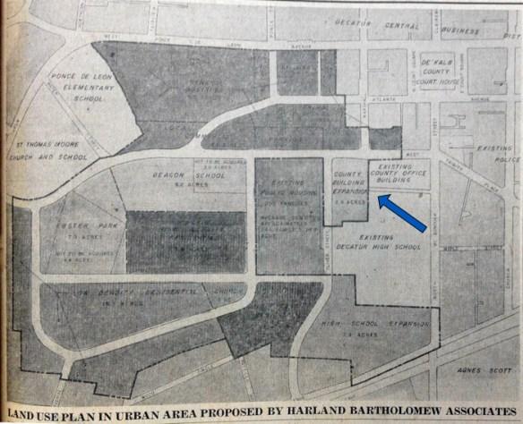 Decatur urban renewal area. Decatur-DeKalb News, Oct. 13, 1960. Arrow indicates former Antioch church site.