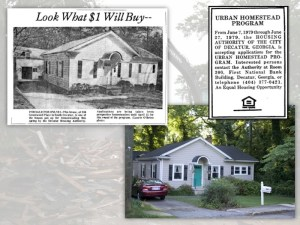 An urban homesteading property featured in an Atlanta newspaper shortly after rehabilitation (upper left) and the same home in 2012 (lower right).