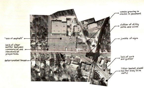 """Problems: Appearance,"" Oakhurst Shopping District Revitalization Plan, 1979. Decatur, Ga."
