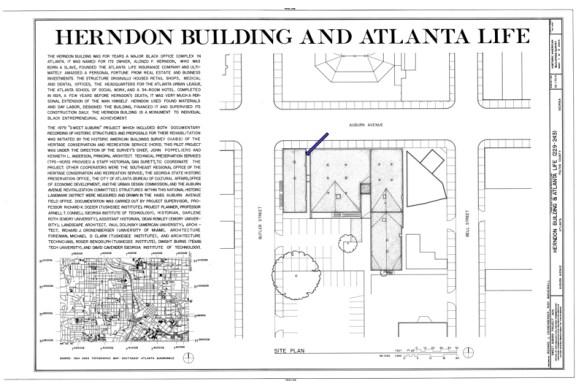 HABS No. GA-1170, Herndon & Atlantic Life Building, 229-243 Auburn Avenue, Sheet 1. Arrow indicates location of Gold Dust sign.