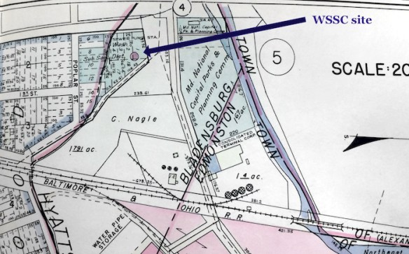 1940 Prince George's County real estate atlas showing the location of the Washington Suburban Sanitary Commission building long believed to be the Spa Spring site.