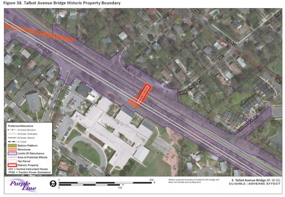 Talbot Avenue Brodge Adverse Effects. Source: Purple Line Section 106 document.