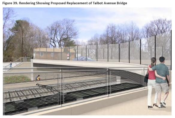 Talbot Avenue Bridge, rendering of proposed replacement bridge. Credit: Purple Line Section 106 document.