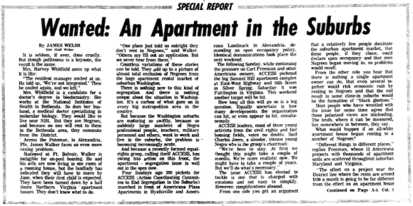 April 5, 1966, Washington Evening Star report on the difficulties African Americans faced finding apartment housing in the Washington suburbs.