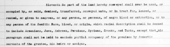 1933 racial restrictions attached to a Montgomery County residential subdivision.