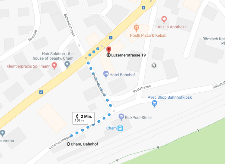 Wegbeschreibung vom Bahnhof Cham zur Luzernerstrasse 19