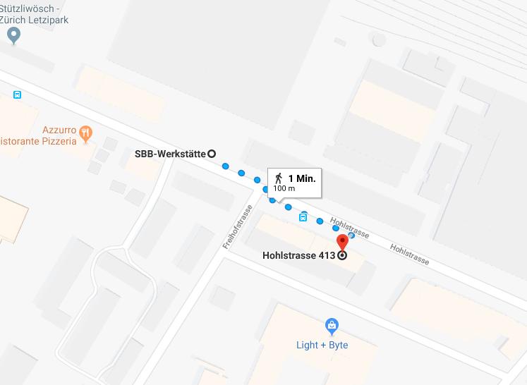"""Wegbeschreibung von der Haltestelle """"SBB Werkstätte"""" zur Hohlstrasse 413"""