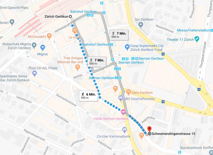 Weg von Zürich Oerlikon zur Schwamendingenstrasse 15