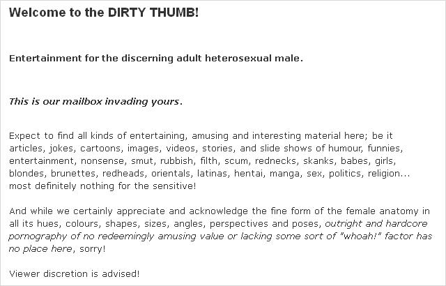 """The Dirty Thumb"" intro text"
