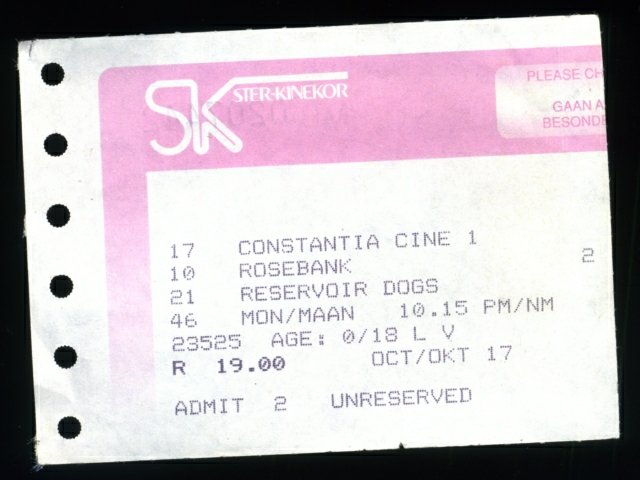 Reservoir Dogs cinema ticket stub