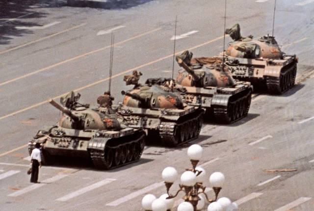 "The unknown ""Tank Man"". Picture by Jeff Widener / AP."