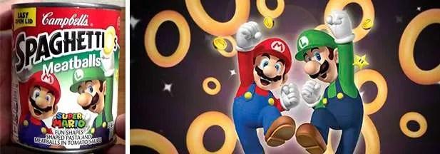 Mario Luigi Nintendo Spaghettios