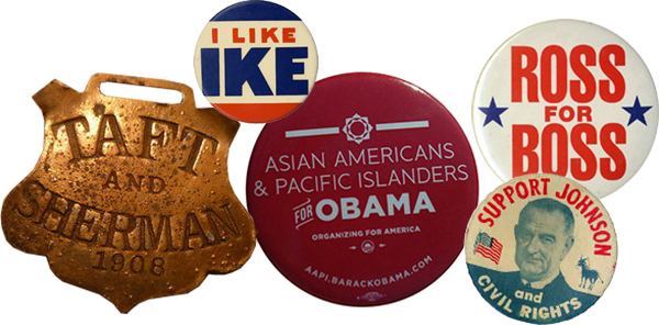 political buttons taft eisenhower obama perot johnson