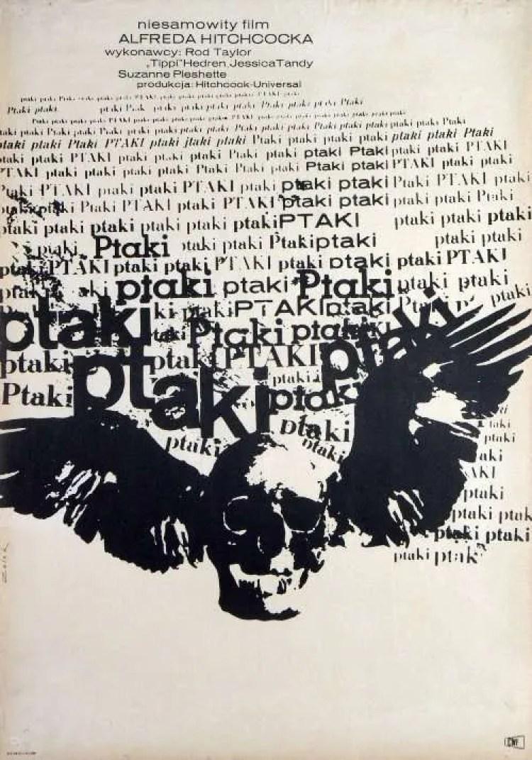 Birds Polish Movie Poster, Alfred Hitchcock