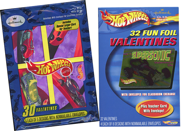 hot wheels valentine's cards