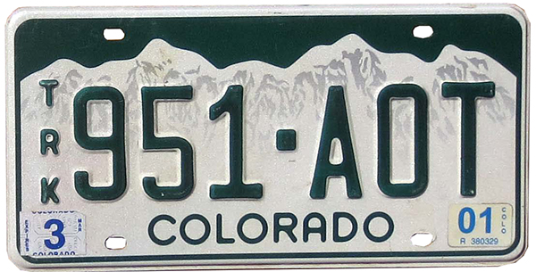 2001 Colorado license plate