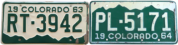 1963 1964 Colorado license plate