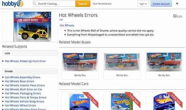 hobbyDB hot wheels error