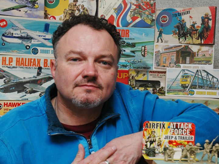 Ward with his Airfix Model Kit