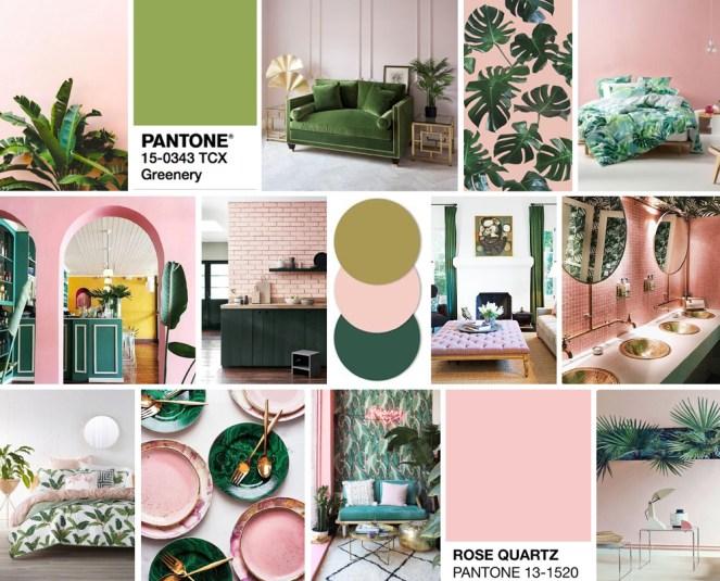 Tropical Green and Blush Pink Inspiration Mood Board