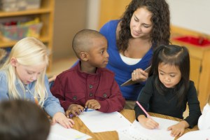 Multi-ethnic group of preschool students in classroom