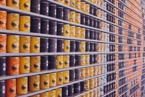 Canned food on shelves.