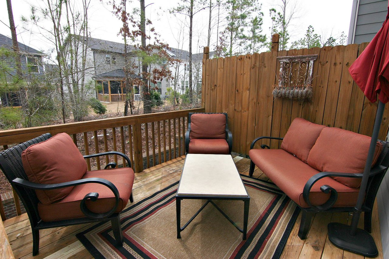 beautiful back deck with trees