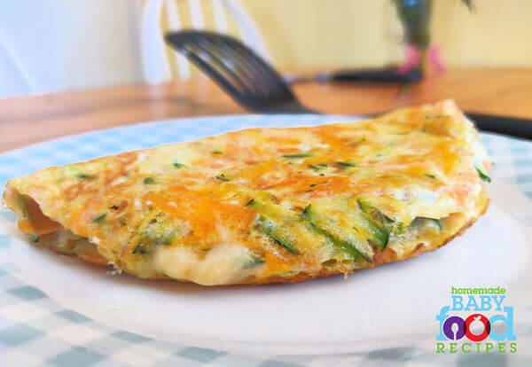 A cheesy vegetable omelet for baby