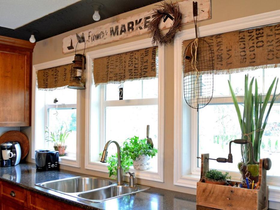coffee sacks as window treatment