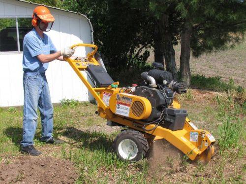 using stump grinder to remove tree stump