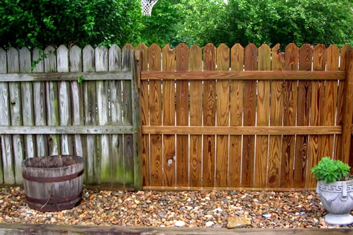 results of power washing a wood fence
