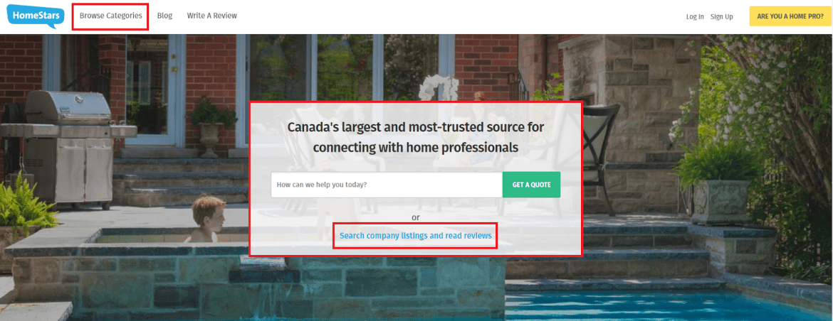 how to select a pro on homestars homepage