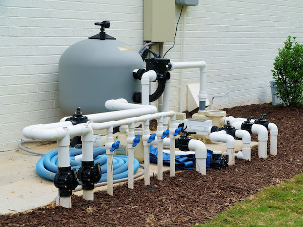 pool plumbing process installing in-ground pool