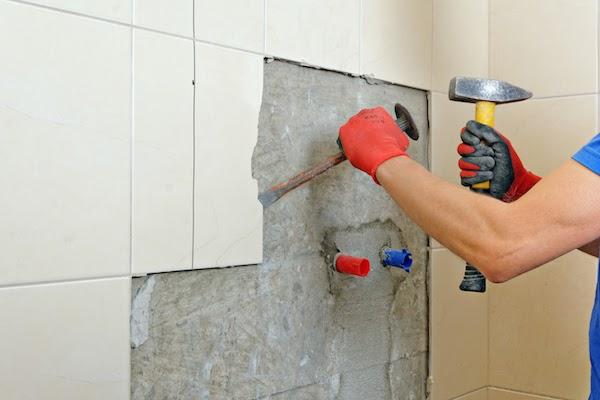 demo of bathroom renovation