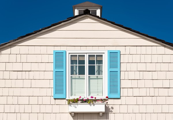 window shutters painted blue