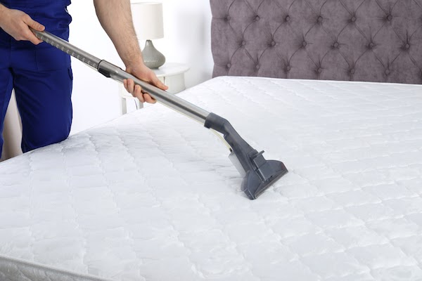 person spring cleaning their mattress