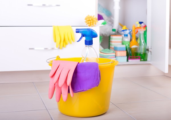 cleaning supplies in home