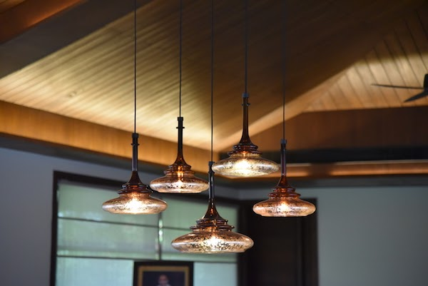 dimmed led lights hanging from ceiling