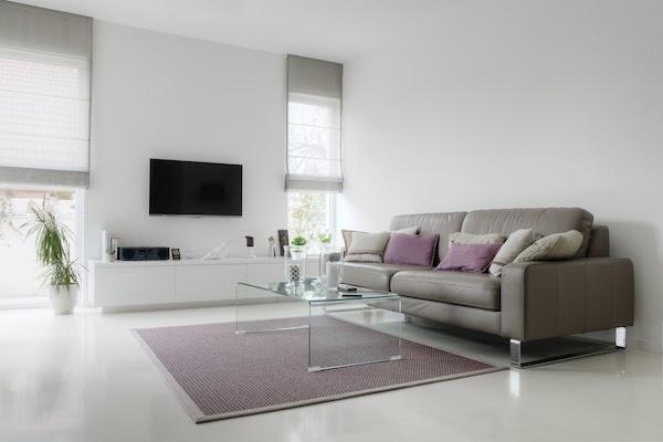 living room with epoxy floors