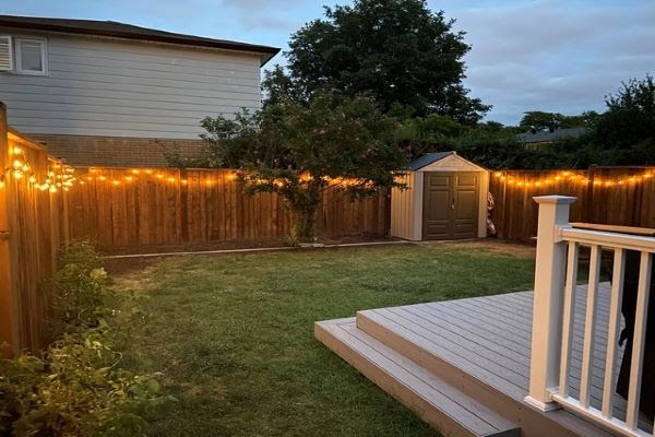 brand new fence project backyard