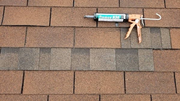 close up of roof repair